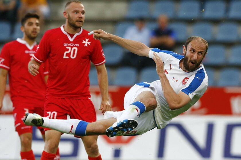 Roman Hubnik of Czech Republic scores during a friendly soccer match between Czech Republic and Malta in Kufstein, Austria, Friday, May 27, 2016. The Czech Republic National Football Team is in Austria for a training camp in preparation for the UEFA EURO 2016 soccer championships, hosted by France.