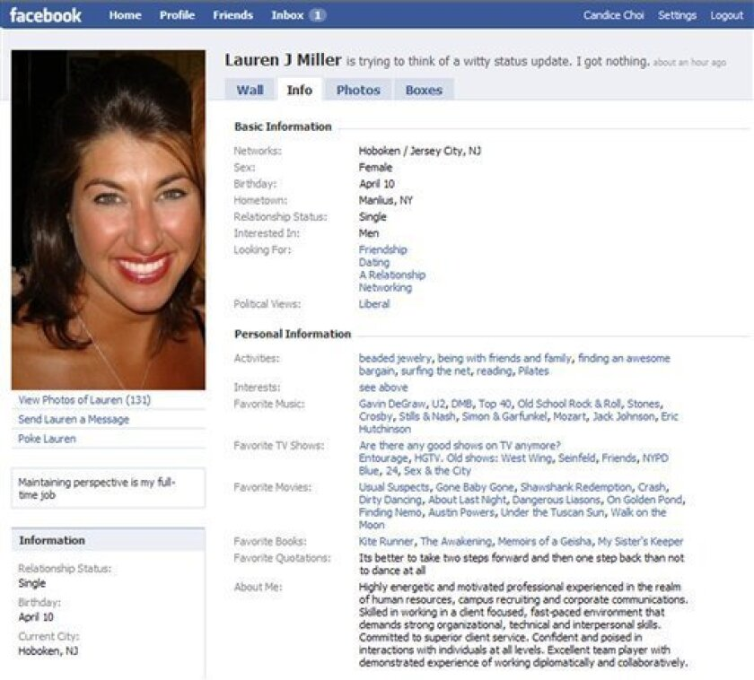 This screen shot taken from facebook.com, of a profile of Lauren Miller, a 36-year-old New Jersey resident. Miller, who was laid off in October, keeps her facebook.com profile clean in case recruiters come across it. (AP Photo/facebook.com)