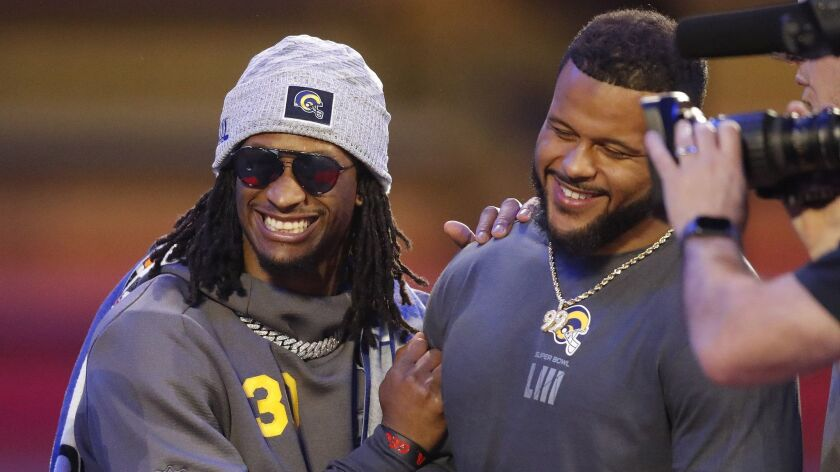 Los Angeles Rams' Aaron Donald and Todd Gurley have some fun during Opening Night for the NFL Super