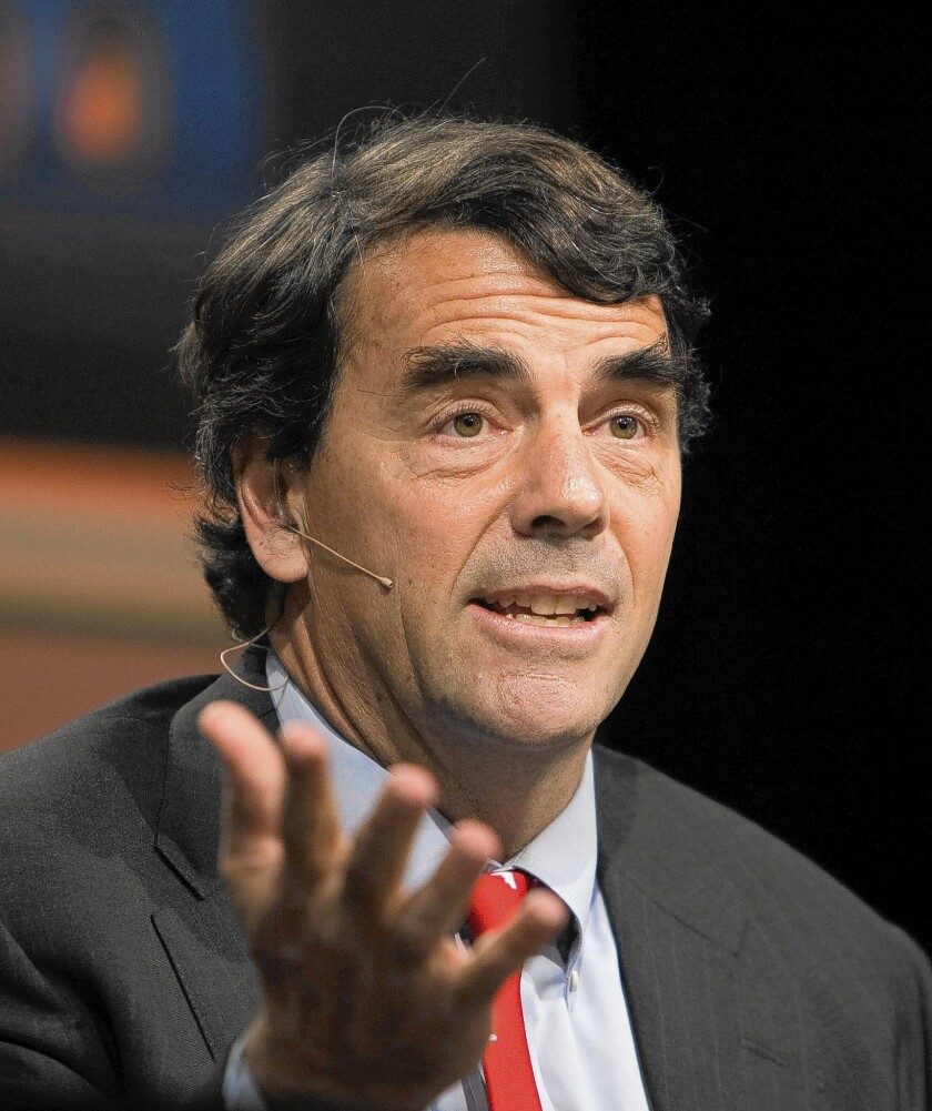 Tim Draper, co-founder of Silicon Valley venture capital firm Draper Fisher Jurvetson, speaks during a panel discussion at the Milken Institute State of the State conference in Los Angeles in 2010.