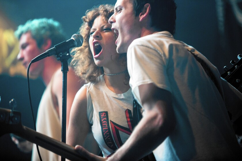 The real screams will begin a little later for Sam (Alia Shawkat, left) and Pat (Anton Yelchin).
