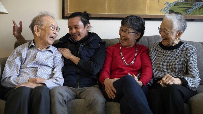 Ben and Kiyo Chikaraishi, flank their grandson Jason Matsumoto and daughter Lynne Matsumoto at their