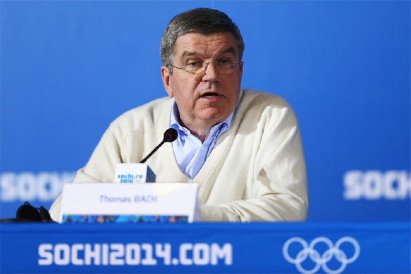 International Olympic Committee President Thomas Bach attends a press conference Monday ahead of the Sochi 2014 Winter Olympics at Olympic Park.