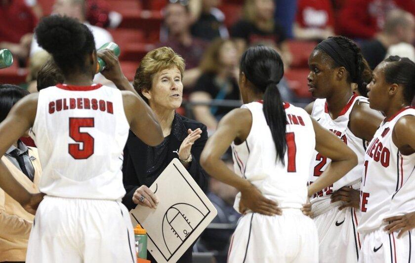 Head coach Beth Burns tries to rally her team.