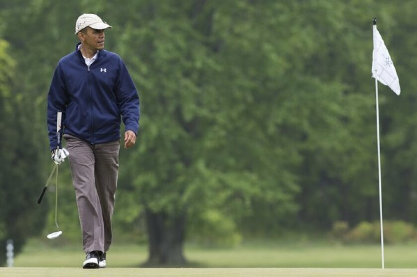President Obama played golf with Republican senators at Andrews Air Force Base in Maryland.