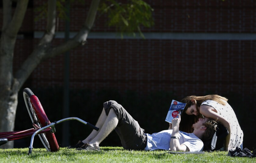 USC students Pat Corcoran and Alexandra Plzak enjoy the warm weather on campus Tuesday as temperatures reached a record 87 degrees in downtown Los Angeles.