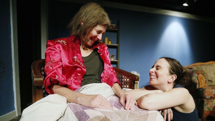 Pamela Shafer, who plays Mary, talks with her stage daughter Austin, played by Jessica Blair, as the