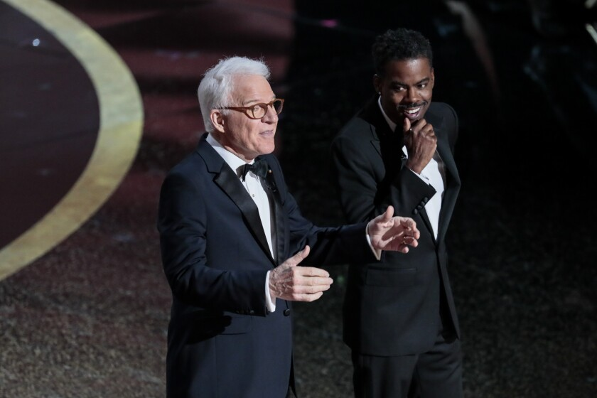 A comedy bit from Steve Martin and Chris Rock opened the Academy Awards.