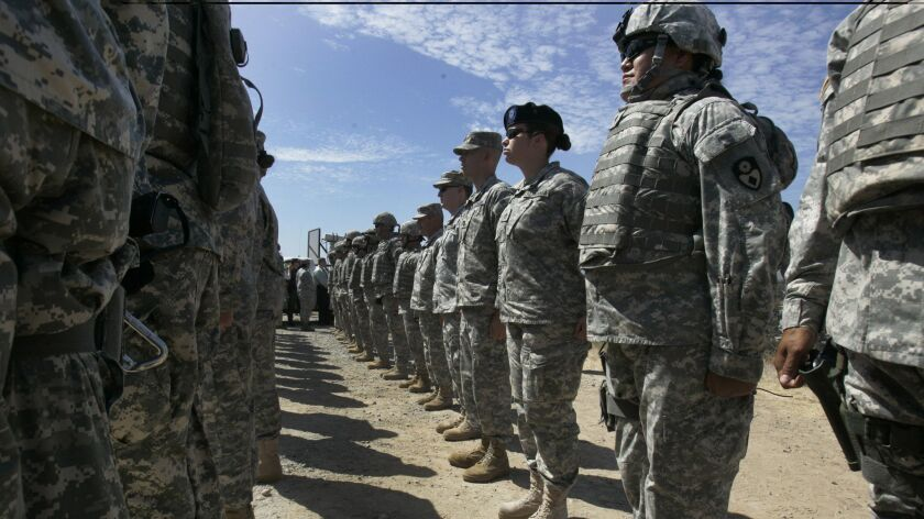FILE - This Aug. 18, 2010, file photo shows California National Guard troops, who are part of Task F