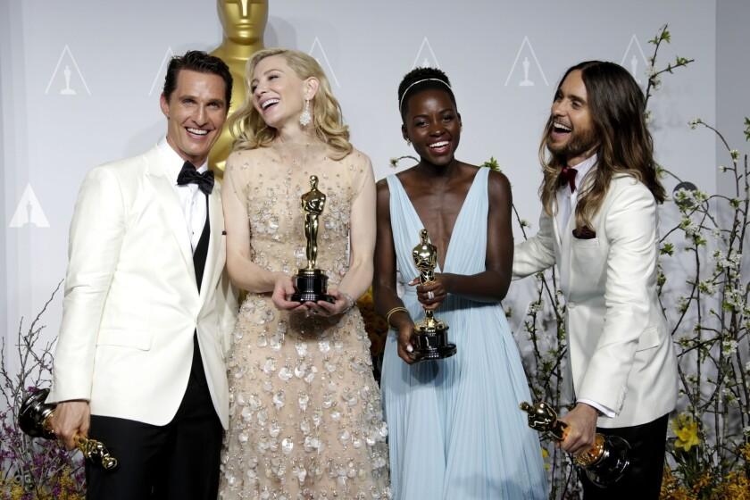 Matthew McConaughey, Cate Blanchett, Lupita Nyong'o and Jared Leto at the  2014 Oscars.
