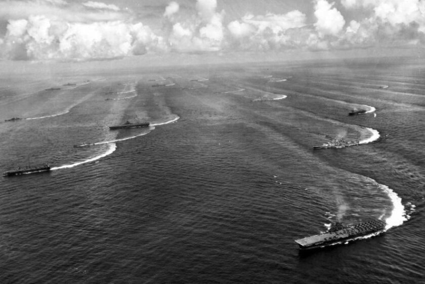 The Third Fleet's Task Force 38 maneuvering off Japan on Aug. 17, 1945. The aircraft carrier in the lower right is the USS Wasp.