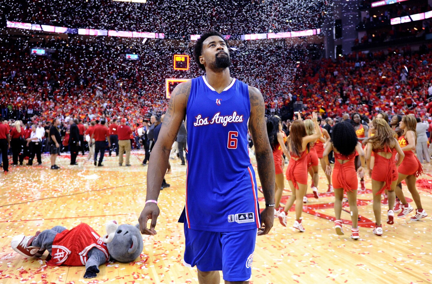 Clippers center DeAndre Jordan exits the court after the Rockets won Game 7 of their playoff series, 113-100, on Sunday at Toyota Center.