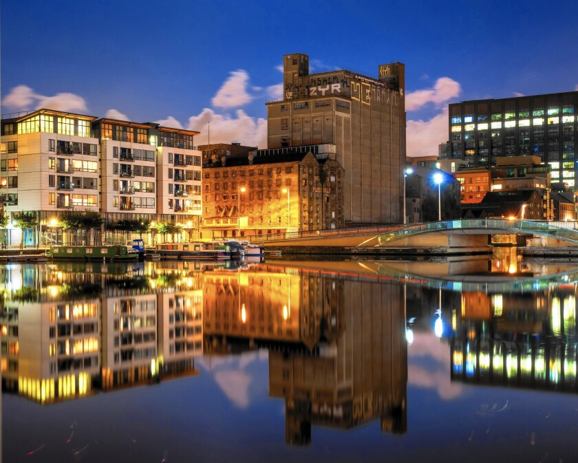 Boland's Mill, along Grand Canal Dock in Dublin Ireland.