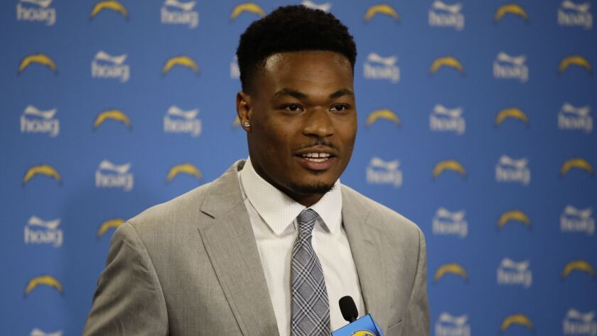 Derwin James, drafted by he Los Angeles Chargers talks during a news conference, Friday, April 27, 2