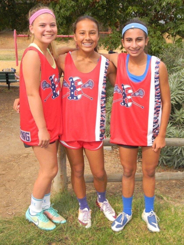 L-R: Kelli McKinnon (U15), Alex Walling (U13, U15), and Bailee Monjazeb (U15) of Carmel Valley were part of the Brady's Bunch Lacrosse team that won the Santa Barbara Showdown Lacrosse Tournament.