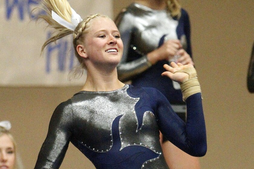 Optional all-around champion Natalie Jaynes of La Costa Canyon performs her routine in the floor exercise.