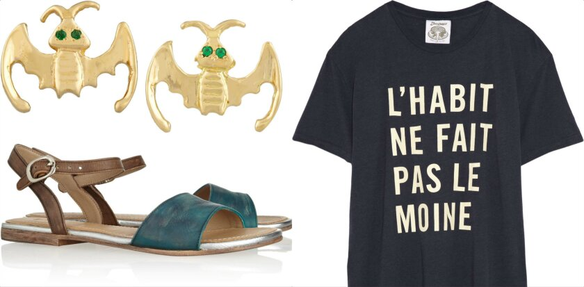 Clockwise from upper left, Wear LACMA art-inspired jewelry by Anita Ko, T-shirts by Clare Vivier and sandals by George Esquivel.