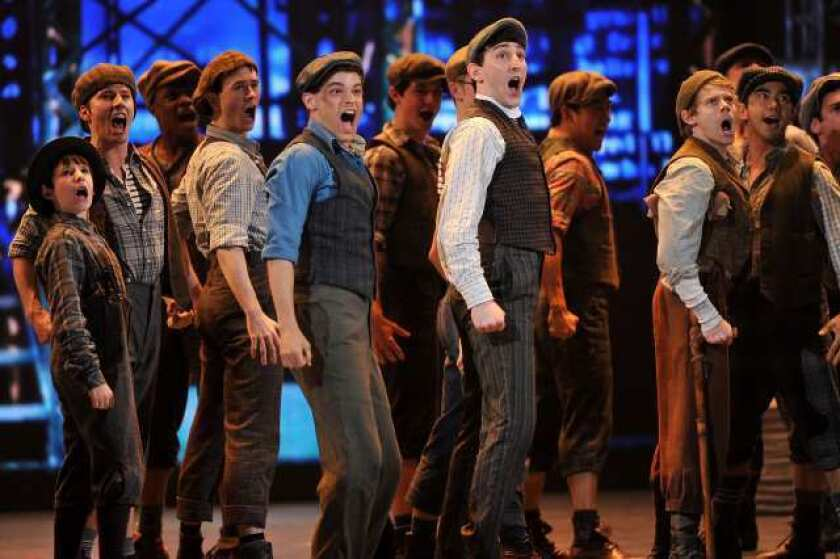 """The cast of """"Newsies"""" perform onstage at the 66th Annual Tony Awards at The Beacon Theatre."""