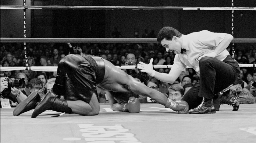Referee Benji Esteves counts welterweight boxer Larry Barnes, of Mt. Vernon, N.Y., out in the fourth round as IBF Welterweight Champion Felix Trinidad of Cupey Alto, P.R., retains his title at the Atlantic City Convention hall Saturday, Nov. 18, 1995.