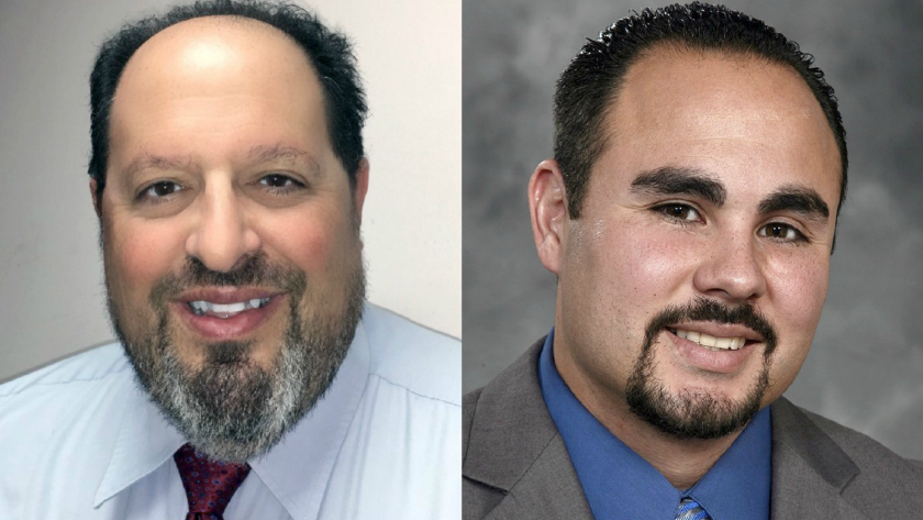 Incumbent Burbank City Councilman David Gordon, left, and candidate Juan Guillen said they both received and have returned unsolicited campaign donations from real estate developer Michael Cusumano.