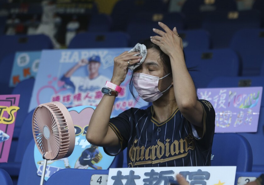 A spectator tries to cool off at a baseball game in Taiwan in May.