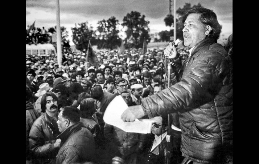 Cesar Chavez speaks to members of the United Farm Workers during a rally in the Imperial Valley.