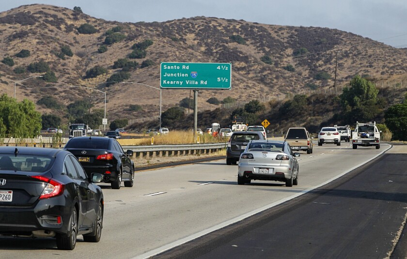 Drivers on westbound Highway 52 at Mast Boulevard