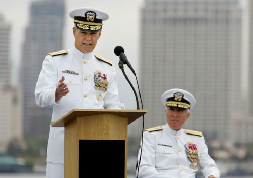 Vice Adm. Richard Hunt (left) addressed the audience after taking over from Vice Adm. Samuel Locklear III (seated). (Eduardo Contreras / Union-Tribune)