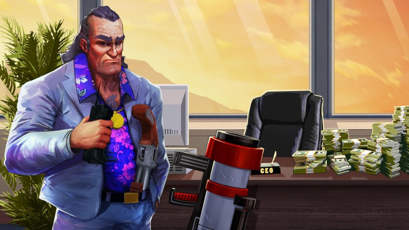 "A scene from the video game ""Shakedown Hawaii."" Credit: Vblank Entertainment"