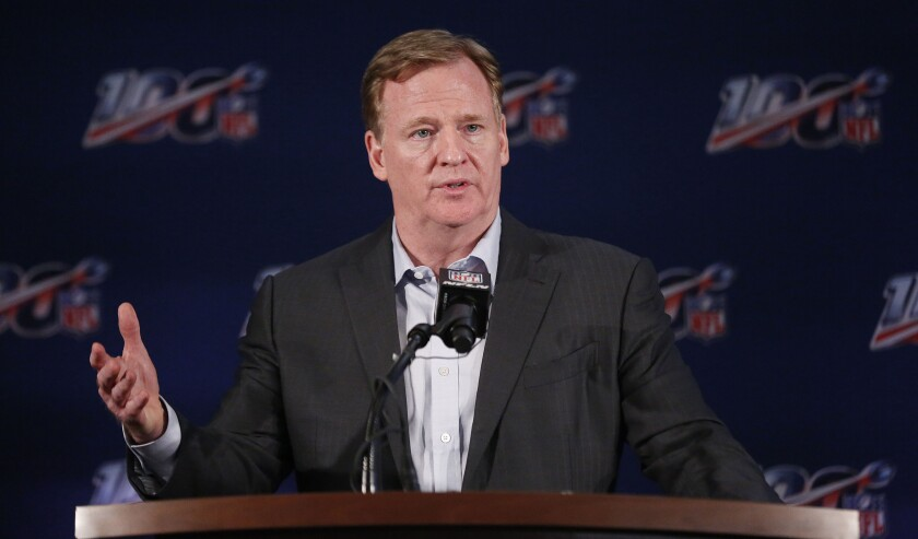 Roger Goodell speaks at news conference.