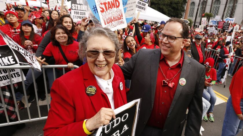 LOS ANGELES, CA - JANUARY 18, 2019 UTLA president Alex Caputo Pearl, right, visits backstage with t