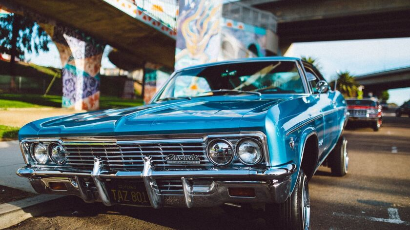 A vintage car show is one of many events that take place at Chicano Park beneath the San Diego-Coron