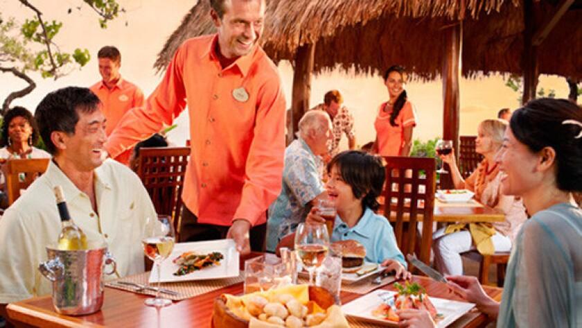 Dining at Disney's new Aulani hotel in Hawaii.