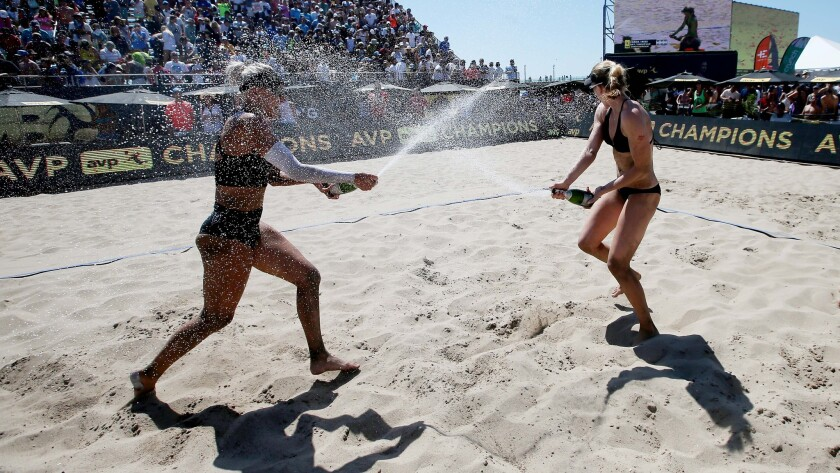 Beach volleyball players Brittany Hochevar and Emily Day