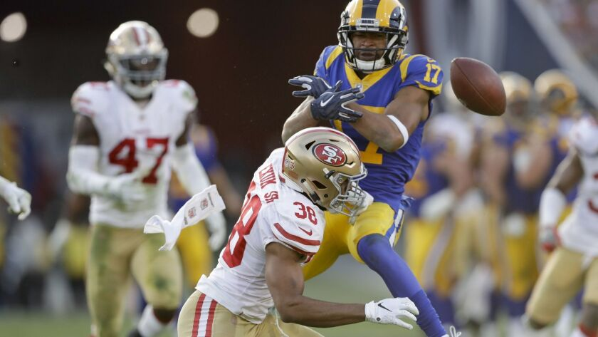 San Francisco 49ers strong safety Antone Exum breaks up a pass intended for Los Angeles Rams wide re