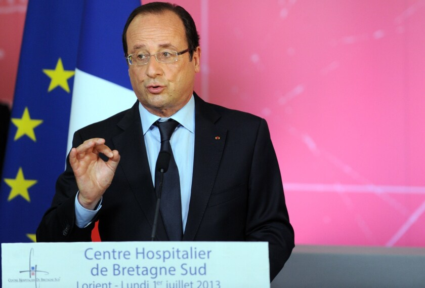 President Francois Hollande delivers a speech during a visit to the Bretagne Sud hospital in Lorient, in western France.