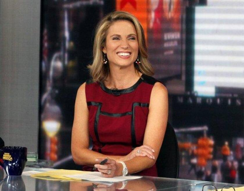 """Amy Robach during a broadcast of """"Good Morning America, """" in New York in 2017."""