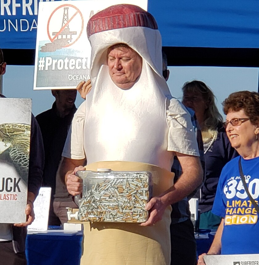 'Butthead' protests cigarette butts discarded onto San Diego beaches.