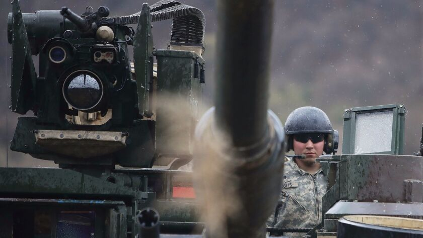 U.S. soldiers prepare for a military exercise near the border between South and North Korea on April 14, 2017 in Paju, South Korea.