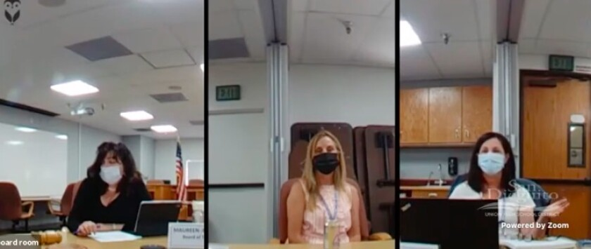 SDUHSD board members Mo Muir, Melisse Mossy and Katrina Young discuss a special election resolution on June 16.