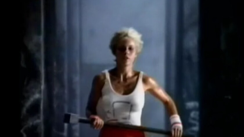 """Actress Anya Major in her starring role subverting Big Brother in Ridley Scott's """"1984"""" ad for the Apple Macintosh."""