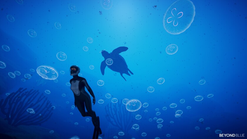 "A scene from the video game ""Beyond Blue."""