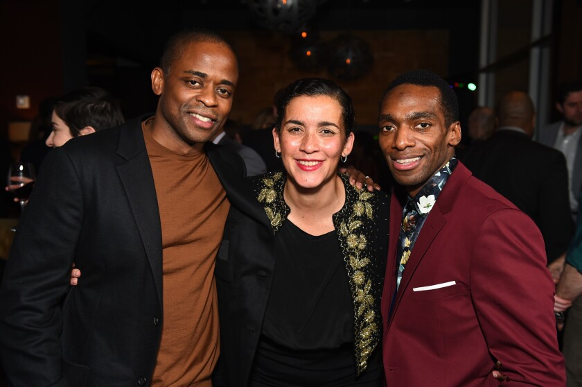 From left, Dulé Hill, Director/Co-writer Patricia McGregor and Daniel J. Watts pose at the opening n
