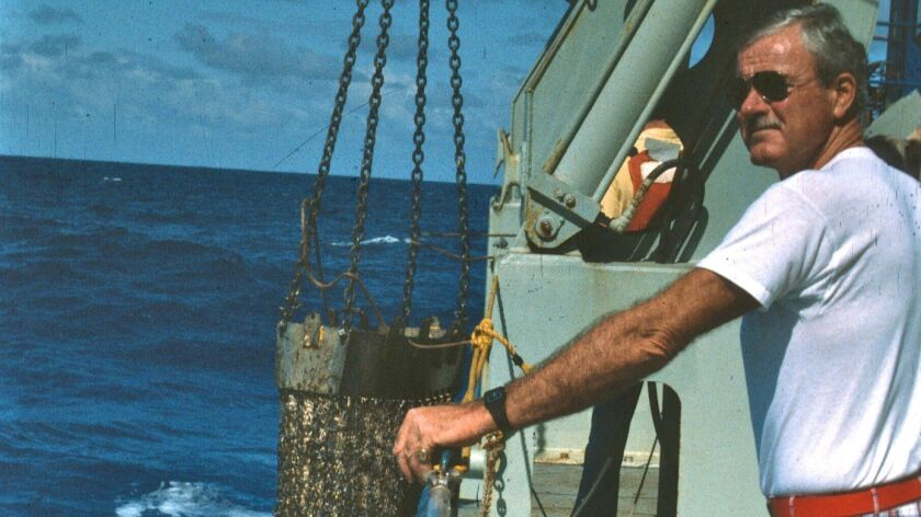Capt. Robert Haines aboard the Scripps Institution of Oceanography research vessel Melville in 1983.