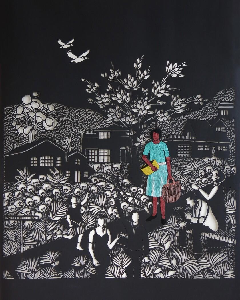 "Bhavna Mehta: ""Mabel Bell La Jolla Pioneer Woman,"" 2018, hand-cut archival paper, embroidery"