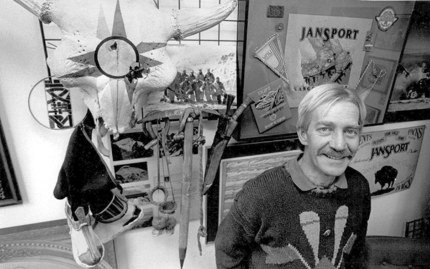 JanSport co-founder Skip Yowell filled his office with souvenirs from his expeditions. The Kansas native, an avid mountaineer, has died at the age of 69.