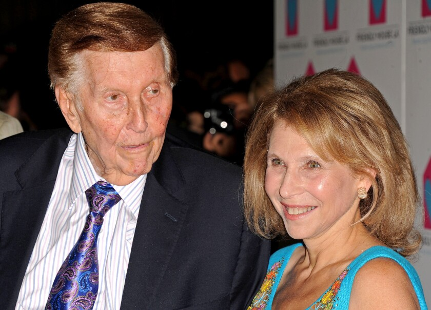 Sumner Redstone, at left, and Shari Ellin Redstone is seen at the LA Friendly House Luncheon on Saturday, Oct. 27, 2012 in Beverly Hills, Calif.