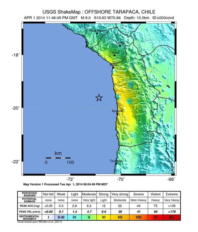 Magnitude 8 earthquake off the coast of Chile