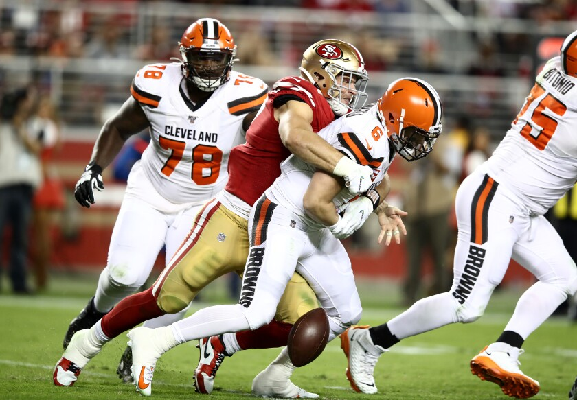 San Francisco 49ers defensive end Nick Bosa sacks and forces a fumble by Cleveland Browns quarterback Baker Mayfield on Oct. 7 in Santa Clara. The Browns recovered the ball on that play but lost the game 31-3.