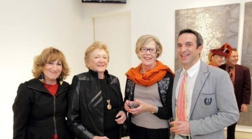 Lux Executive Director Reesey Shaw, board member emeritus Joanne Warren, Libby Frank, guest artist Carlos Vega (Photo/Jon Clark)
